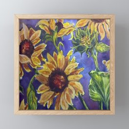 Sunseekers - Field Mouse among Sunflowers Framed Mini Art Print