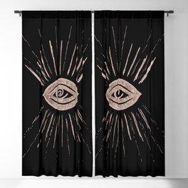 Evil Eye Rose Gold on Black #1 #drawing #decor #art #society6 Blackout Curtain