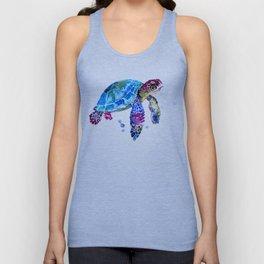 Sea Turtle, Blue Purple Turtle illustration, Sea Turtle design Unisex Tank Top