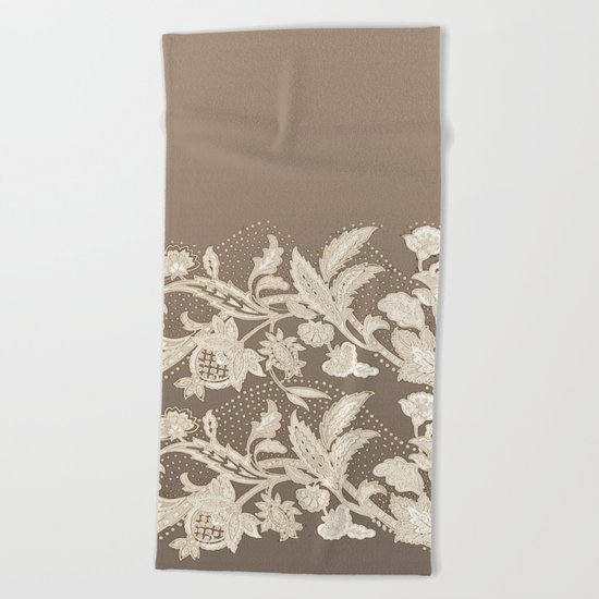 old lace border Beach Towel