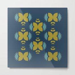 Folk Flowers - Navy Metal Print