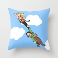 enjolras Throw Pillows featuring Enjolras and Grantaire by Miki Price