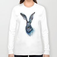 hare Long Sleeve T-shirts featuring Blue Hare by ECMazur