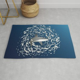 Reef shark and school of fish Rug