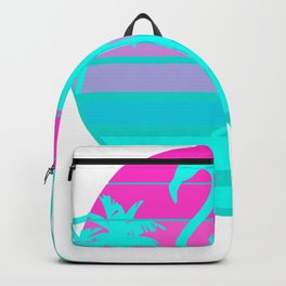 Flamingo in a Vintage 80s Beach with palms Vaporwave Style print Backpack