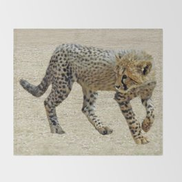 Baby cheetah learning to stalk Throw Blanket