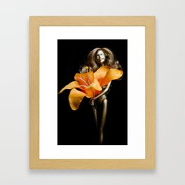 golden barbie with flower Framed Art Print