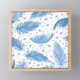 Blue Feathers Framed Mini Art Print