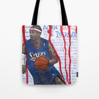 nba Tote Bags featuring NBA PLAYERS - Allen Iverson by Ibbanez