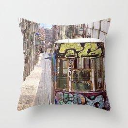 Graffiti Cable Car Throw Pillow