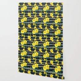 Yellow black gray watercolor modern floral stripes Wallpaper