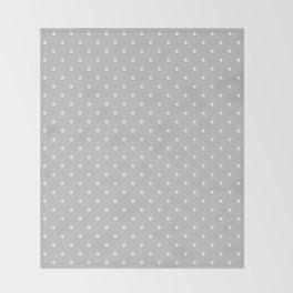Small White Polka Dots On Light Grey Background Throw Blanket