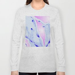 Blue Agate Slice Cacti Pattern Long Sleeve T-shirt
