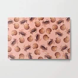scallop Crab pattern design coral Metal Print