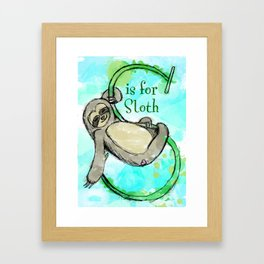 S is for Sloth Framed Art Print