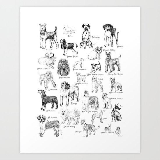 Dog Alphabet Illustration Print Art Print