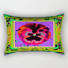 Exotic Red Pansy in  Green-Lavender-Rose-Yellow Color Patterns Abstract Rectangular Pillow