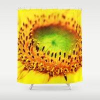 sunflower Shower Curtains featuring Sunflower by Falko Follert Art-FF77