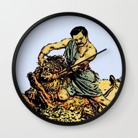 parks and recreation Wall Clocks featuring Ron Swanson Slaying A Lion  |  Parks and Recreation by Silvio Ledbetter