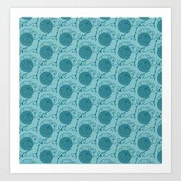 Floral Pattern   Aqua Blue Art Print