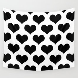 White Black Heart Minimalist Wall Tapestry