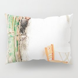 Charming Yellow Chair and Green Door in Greece Pillow Sham