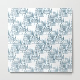 Buildings in Blue Metal Print