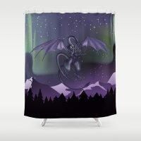 aurora Shower Curtains featuring Aurora by Melissa Dekker