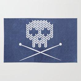 Knitted Skull - White on Navy Blue Rug