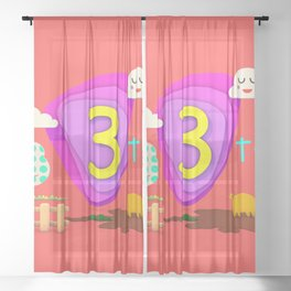 Number three - Kids Art Sheer Curtain