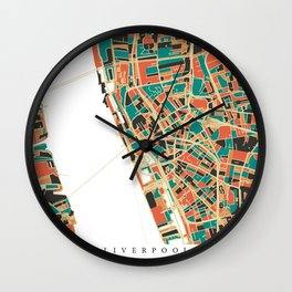 Liverpool City Map - Multicolour Wall Clock