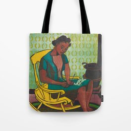 The Yellow Rocker Woodblock Art Tote Bag