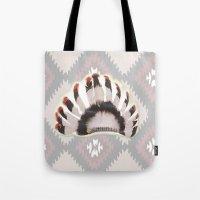 headdress Tote Bags featuring Headdress by Ezgi Kaya