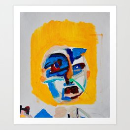 I'm a cold man /fineart/original painting/abstract expressionism portrait/hand painting/illustration Art Print