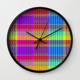 rainbow madras plaidras Wall Clock
