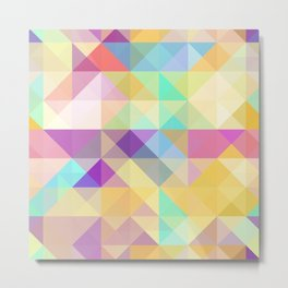 Chic Colorful Funky Retro Triangles Mosaic Pattern Metal Print