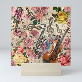 Vintage pink bohemian roses classical notes musical instruments Mini Art Print