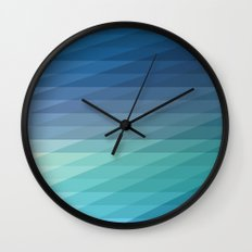 Fig. 042 Blue Geometric Diagonal Stripes Wall Clock