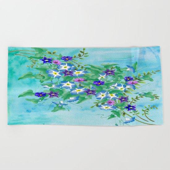 Watercolor Spring Bouquet  Beach Towel