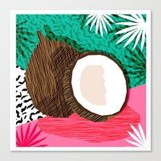 Bada Bing - memphis throwback tropical coconuts food vegan nature abstract illo neon 1980s 80s style Canvas Print