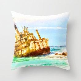 shipwreck aqrestd Throw Pillow