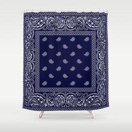 Bandana - Navy Blue - Southwestern - Paisley  Shower Curtain
