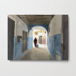 Moroccan lady walking in the Casbah Metal Print