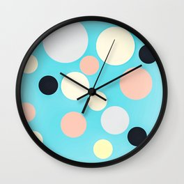 Fun Pastel Big Poka Dots Wall Clock