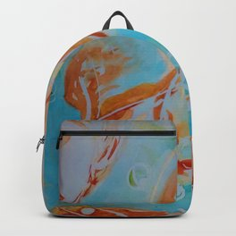 GoldFish Bubbles 1sw watercolor by CheyAnne Sexton Backpack