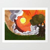 Ocaso en Campo Art Print