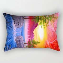 Sky Tree and River Nature Faces ~ Live Painting- wildlight/tpa Rectangular Pillow