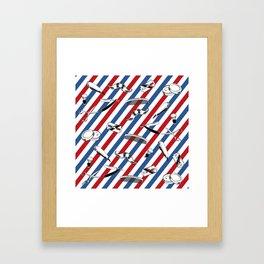 Barber Shop Pattern Framed Art Print