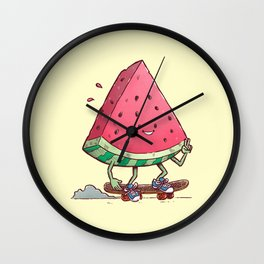 Watermelon Slice Skater Wall Clock