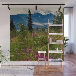 Alaskan Glacier & Fireweed Wall Mural